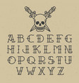 old school tattoo alphabet vector image