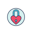 padlock in heart shape creative icon heart vector image