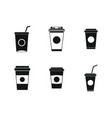 plastic cup icon set simple style vector image vector image