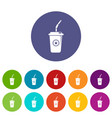 plastic glass juice icons set color vector image vector image
