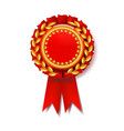 red award ribbon certificate banner vector image vector image