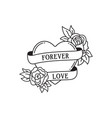 rose and heart tattoo with wording forever love vector image vector image