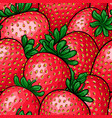 seamless pattern red strawberry with black vector image vector image
