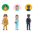 set of firefighter medical adviser and policeman vector image vector image