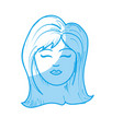 silhouette cute woman face with hairstyle vector image vector image