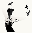 silhouette of spanish flamenco dancer man and vector image