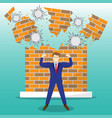 strong businessman in front of breaking brick wall vector image vector image