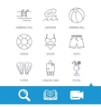 Surfboard swimming pool and trunks icons vector image vector image