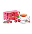 tea packaging realistic mock up summer vector image vector image