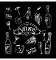 Wine set on chalkboard vector image vector image