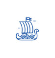wooden viking ship line icon concept wooden vector image vector image