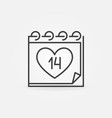 14 february calendar icon in outline style vector image