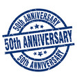 50th anniversary blue round grunge stamp vector image vector image