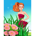 A pretty young girl in the meadow vector image vector image