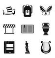 ancient greece icons set simple style vector image vector image