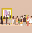 art gallery exhibition busy many people man woman vector image vector image