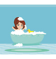 baby girl taking bath and playing vector image vector image