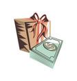 bills dollar money with gift box