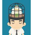 Businessman idea inside the birdcage vector image
