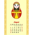 Calendar with nested dolls 2017 August vector image vector image