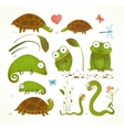 Cartoon Green Reptile Animals Childish Drawing vector image vector image
