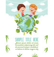 children sitting on earth vector image vector image