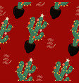 christmas cacti new year seamless pattern eps 10 vector image