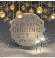 Christmas greeting signboard and baubles vector image vector image