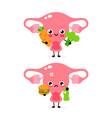 cute healthy happy uterus organ with vegetables vector image vector image