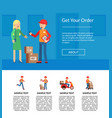 delivery flat elements website landing page vector image vector image