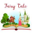 fairy tale castle book open book vector image vector image