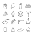 fast food line icon vector image vector image