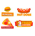 fastfood label hamburger and chicken logo vector image