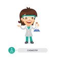 female chemistry teacher with a bulb vector image vector image