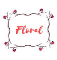 floral pink flower branch design white background vector image vector image