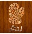 Gingerbread santa glove Christmas card design vector image vector image