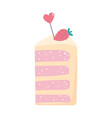happy birthday piece cake with fruit and heart vector image