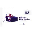 hockey tournament website landing page athlete vector image