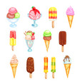ice cream cold dessert food watercolor set vector image