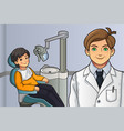 kid in the dentist office vector image vector image