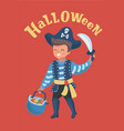 little boy dressed up as a pirate on halloween vector image vector image