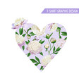 love romantic floral heart design for prints vector image vector image