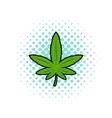 Marijuana leaf icon comics style vector image