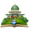 open book with islamic mosque in the park vector image vector image