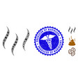 pandemic collage aroma steam icon with caduceus vector image vector image