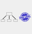 pixelated hierarchy links icon and vector image vector image
