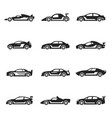 racing cars bold black silhouette icons set vector image vector image