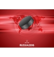 Red abstract hockey background with black puck vector image vector image