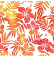 Red watercolor hibiscus seamless pattern vector image vector image