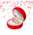 ring with diamond in box jewelry isolated vector image vector image